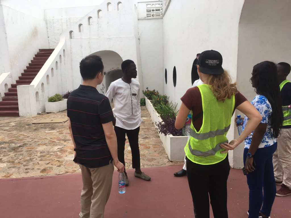 Group of tourists at Osu Castle in Accra, Ghana
