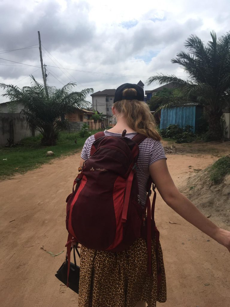 The red backpack we always bring to Ghana. It has enough space for all our belongings.